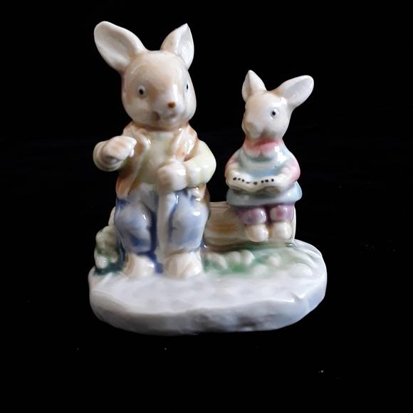 England 1970s Porcelain Rabbits  Figurines